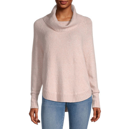 by&by-Juniors Womens Cowl Neck Long Sleeve Pullover Sweater, X-small , Pink