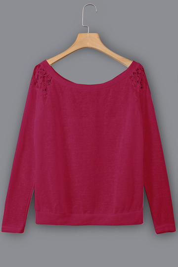 Yoins Burgundy Lace Insert Round Neck Long Sleeves Top
