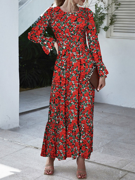 Milanoo Vestido largo estampado de manga larga con cuello joya de gasa para mujer