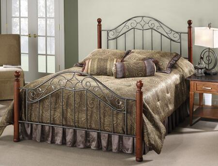 Martino Collection 1392BQ Queen Size Headboard and Footboard Set with Decorative Finials  Wood Posts  Metal Scrollwork and Open Frame Panels in Smoke