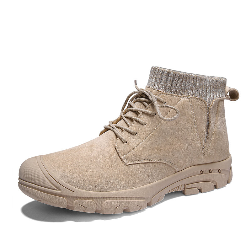 Men Outdoor Toe Protective Lace Up Comfy Elastic Sock Ankle Boots