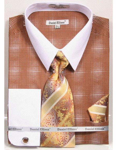Mens white Collared French Cuffed Brown woven design Shirt Tie/Hanky