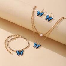 1 pieza collar con diseño de mariposa con 1 par pendientes con 1 pieza pulsera tobillera