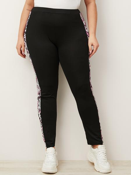 Yoins Plus Size Black Leopard Patchwork Pants