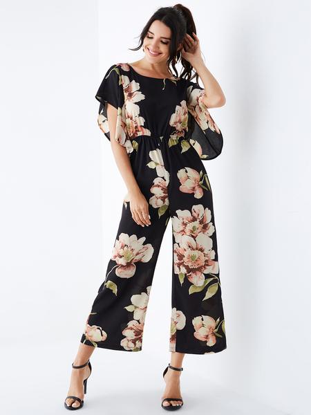 YOINS Black Random Floral Print Stretch Waistband Jumpsuit