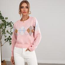 Argyle Pattern Round Neck Sweater