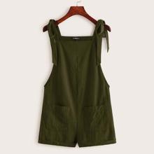 Overall Shorts mit Knoten, Riemen und Taschen Flicken