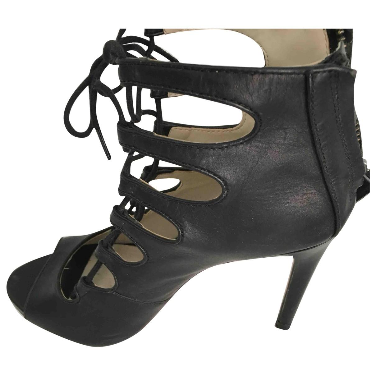 Zara - Sandales   pour femme en cuir - noir