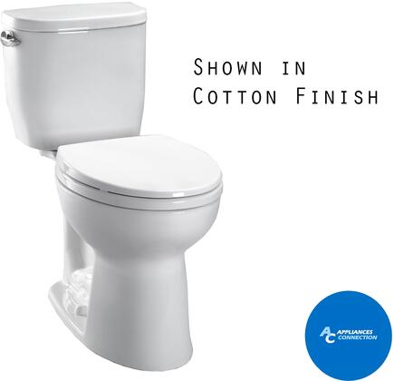 CST243EF#01 Entrada Series Two-Piece Elongated Toilet with Vitreous China Construction  E-Max Flushing System  and Left Chrome Trip Lever  Cotton