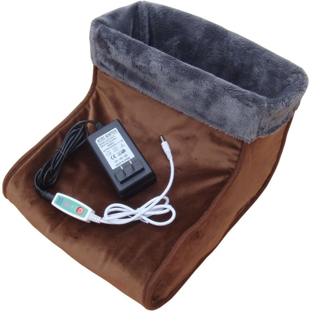 Foot Warmer Electric Massager Relaxing Heated Feet Comfort Fleece Suede Washable