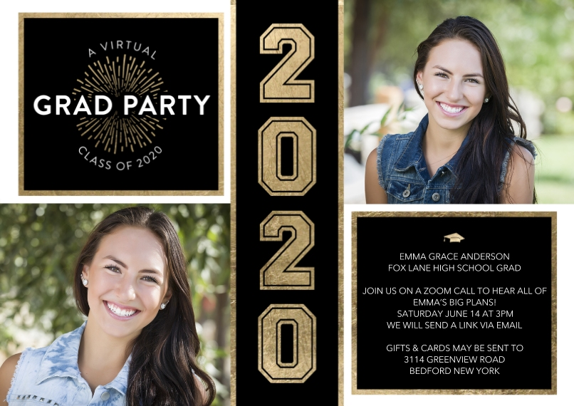 Graduation Invitations 5x7 Cards, Premium Cardstock 120lb with Elegant Corners, Card & Stationery -Virtual Grad Party Gold by Tumbalina