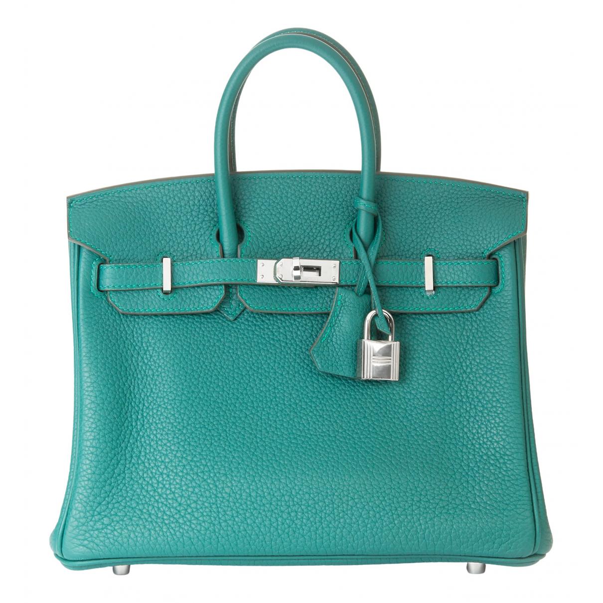 Hermes Birkin 25 Handtasche in  Gruen Leder