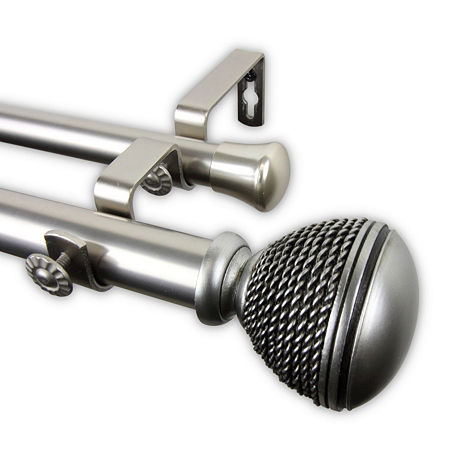 Rod Desyne Braided Double Curtain Rod, One Size , Silver