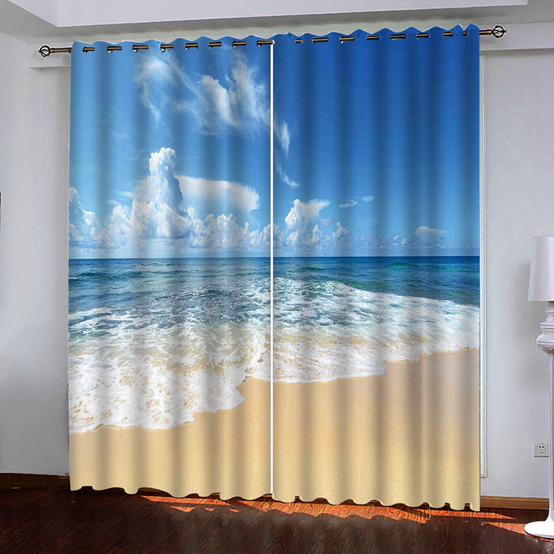 3D Modern Seascape Decoration Blackout Curtains for Living Room No Pilling No Fading No off-lining Drapes Blocks Out 80% of Light and 90% of UV Ray