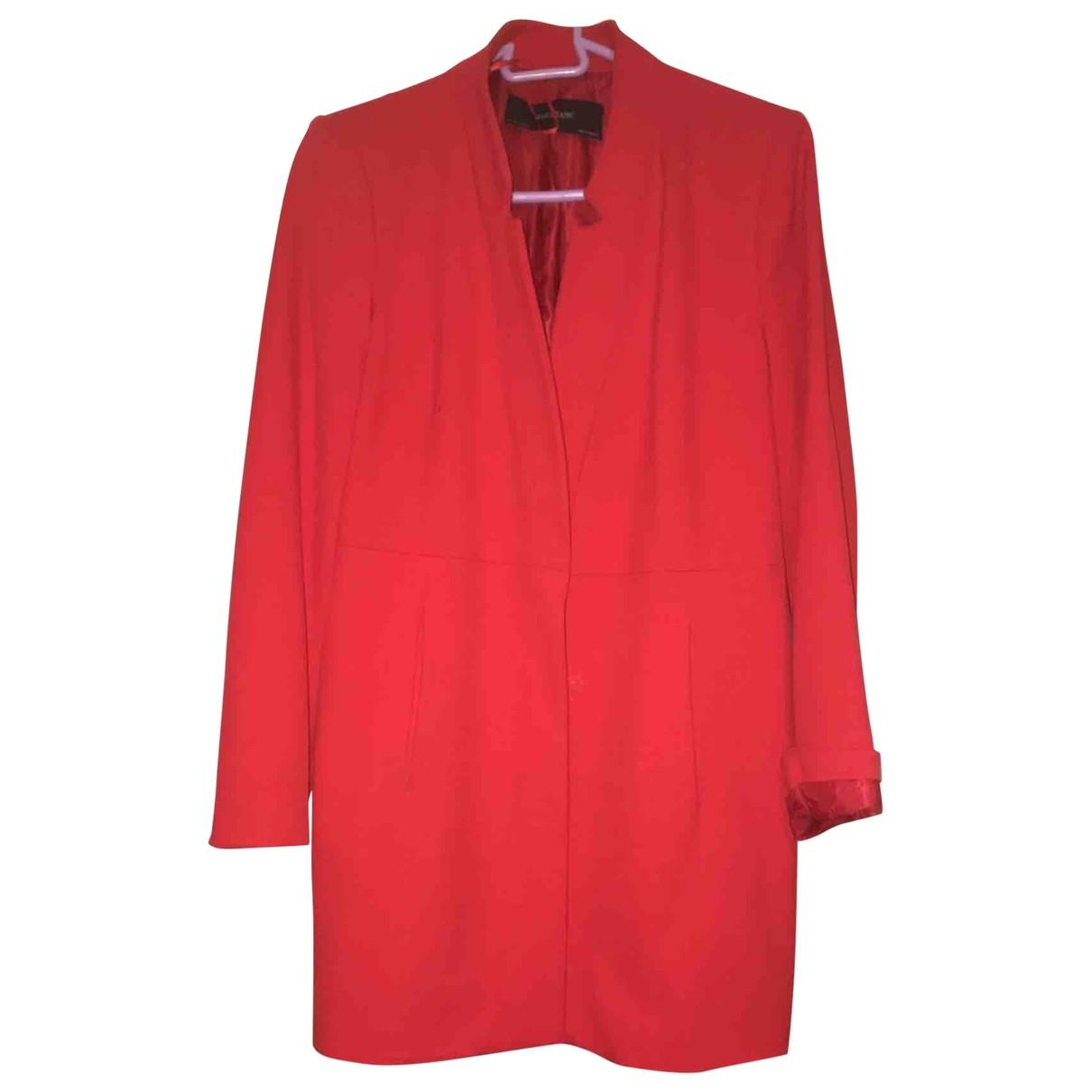 Zara - Manteau   pour femme en coton - rouge