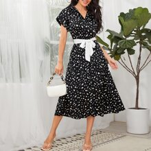 Button Front Belted Dalmatian Print Satin Dress