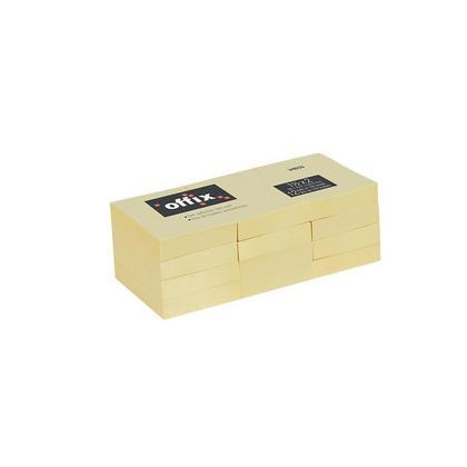Offix® Notes autocollantes, jaune, 100 feuilles / bloc, 12 blocs / paquet - 1-1 / 2 x 2 pouces