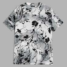 Maenner Top mit Batik, Blumen Muster und Netzstoff