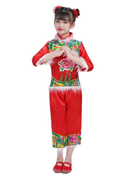 Milanoo Kid Chinese Costumes Red Flower Dance Costume Nice Carnival Costumes