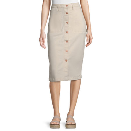a.n.a Womens High Rise Midi Denim Skirt, 8 , Beige