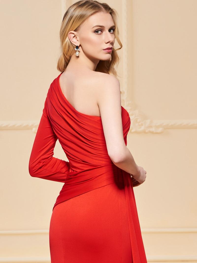 Ericdress One Shoulder Pleats Mermaid Red Evening Dress