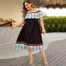 Plus Floral Print Foldover Bardot A-line Dress