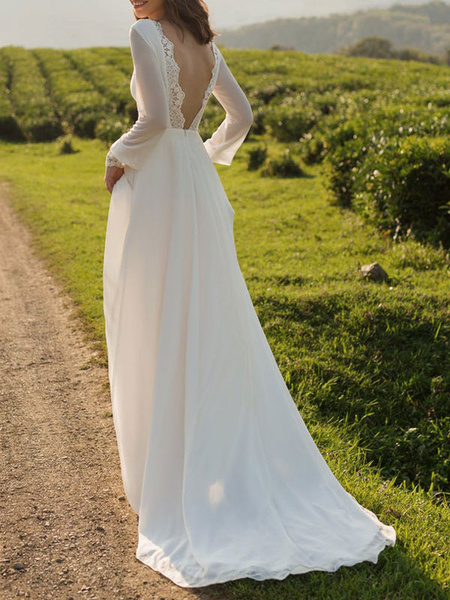 Milanoo Vestidos de novia sencillos de linea A Vestidos de novia Marfil Boda con manga larga cintura natural de encaje de chifon con escote barco