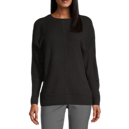 Worthington Womens Crew Neck Long Sleeve Pullover Sweater, X-large , Black