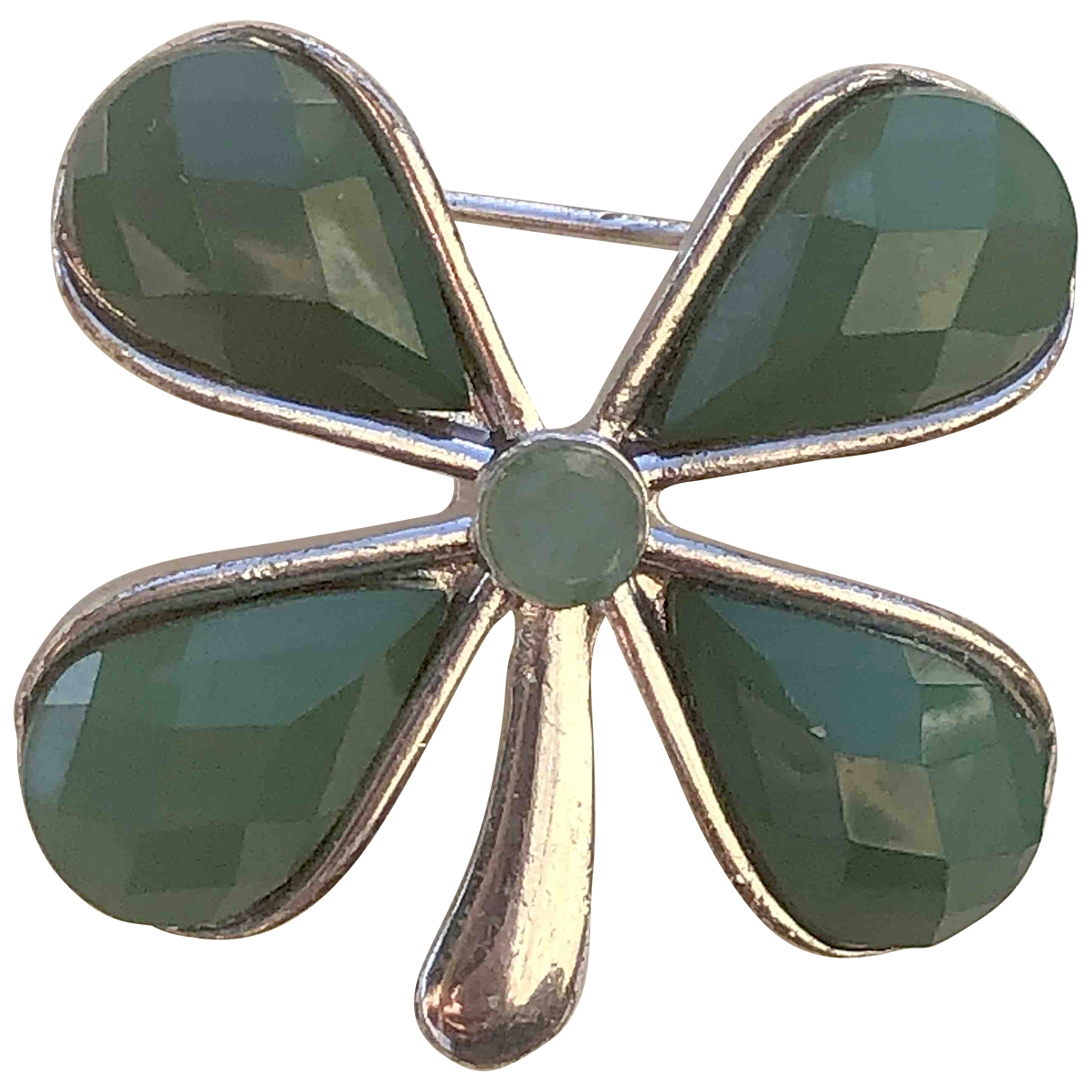 Non Signé / Unsigned Motifs Floraux Green Jade Pins & brooches for Women \N