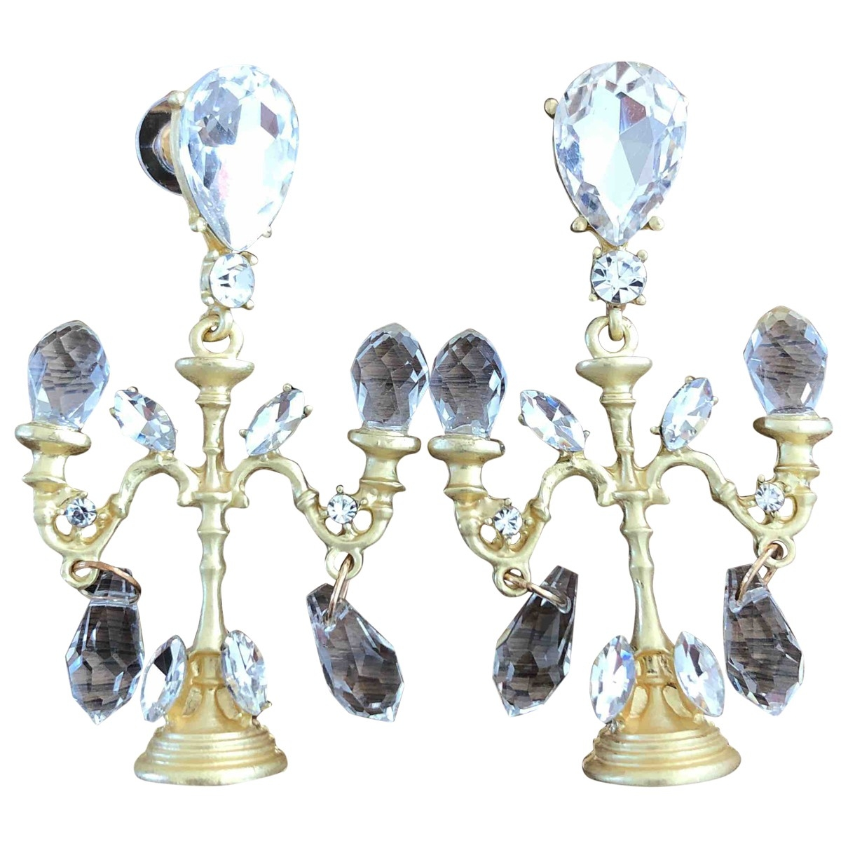 - Boucles doreilles Art Deco pour femme en metal - blanc