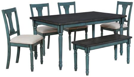 16D8214 Willow 6 Pc Dining Set with 4x Dining Room Chairs + 1x Dining Room Table + 1x Bench in
