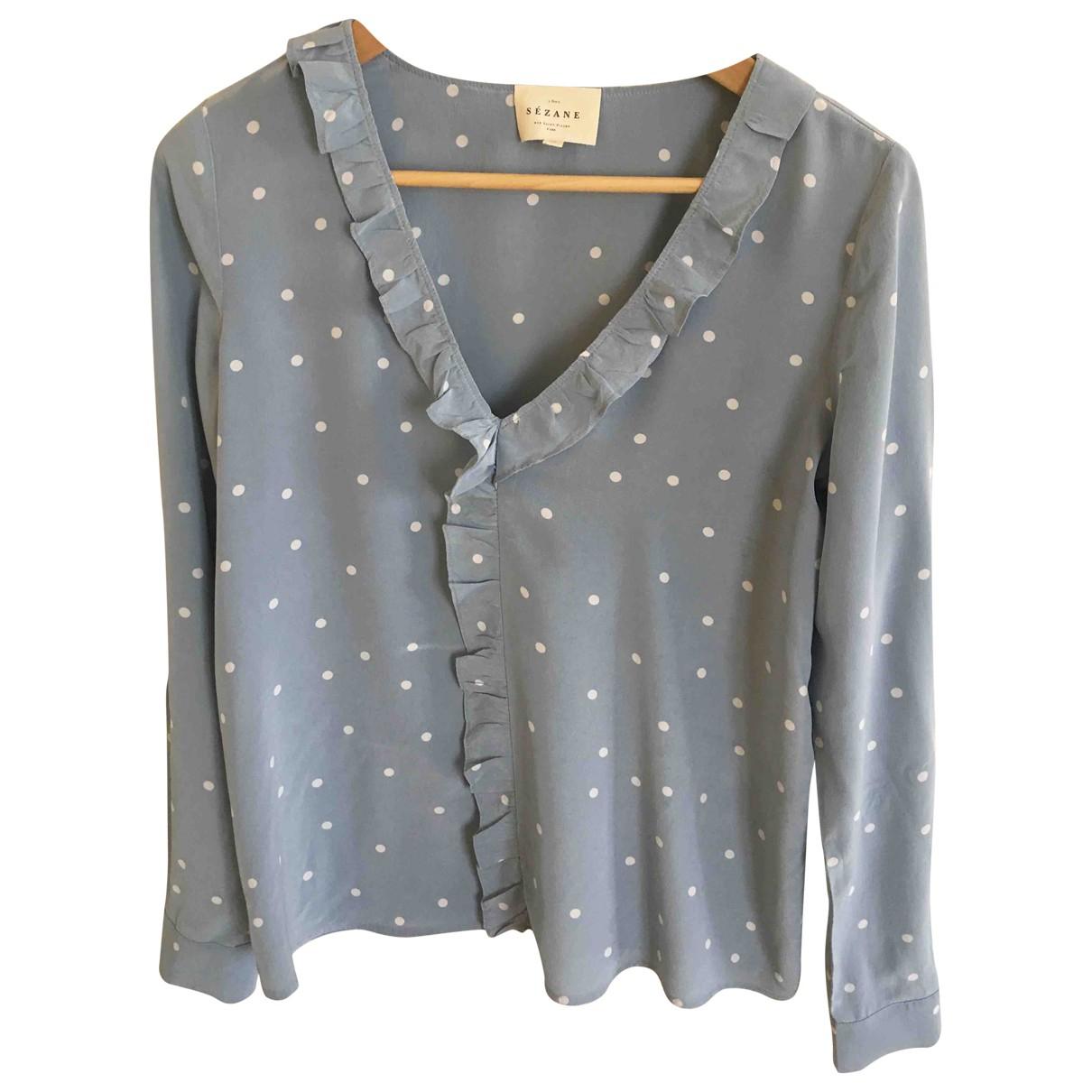 Sezane - Top   pour femme en soie - bleu