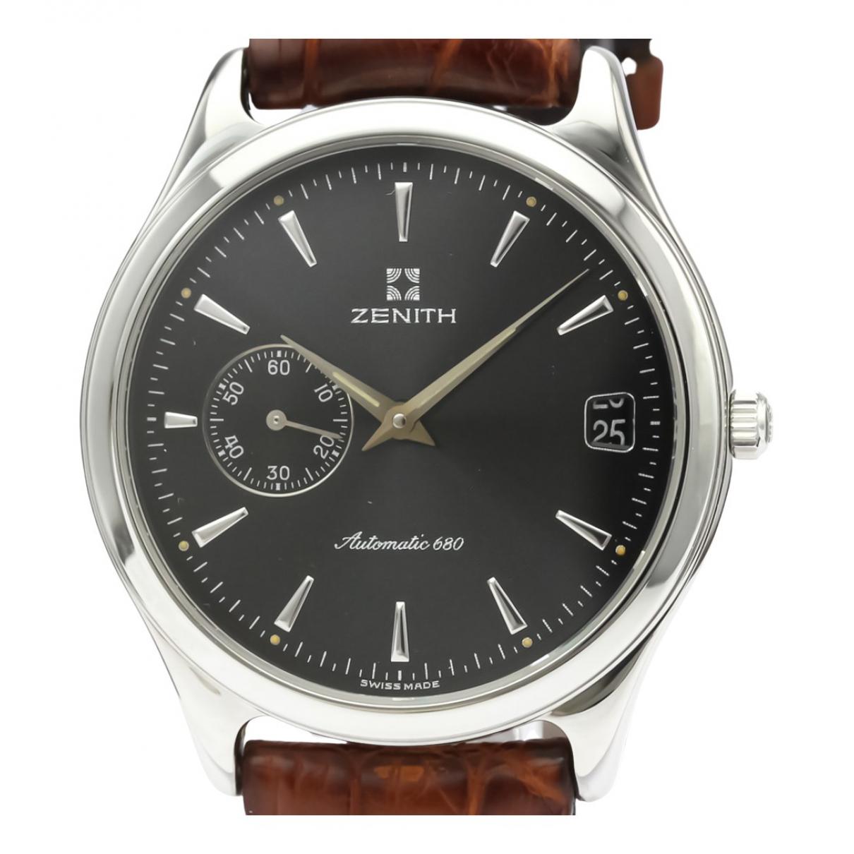 Zenith Elite  Uhr in  Schwarz Stahl