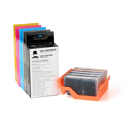 Compatible HP PhotoSmart 7515 Ink Cartridges BK/PBK/C/M/Y 5-Pack High Yield - Moustache