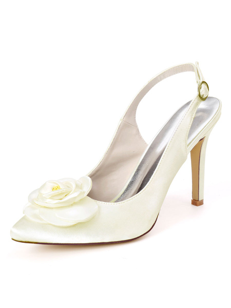 Milanoo Wedding Shoes Ivory Satin Flowers Pointed Toe Stiletto Heel Bridal Shoes