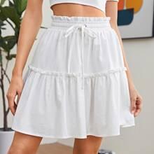 Frill Trim Drawstring Waist Skirt