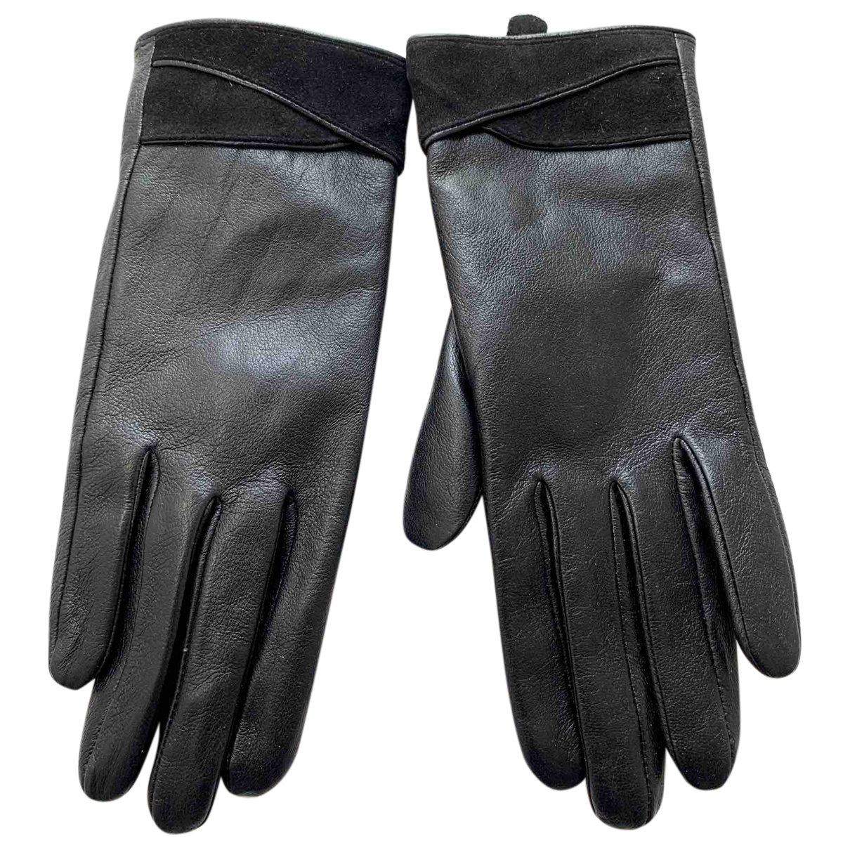 Non Signé / Unsigned N Black Leather Gloves for Women 7.5 Inches