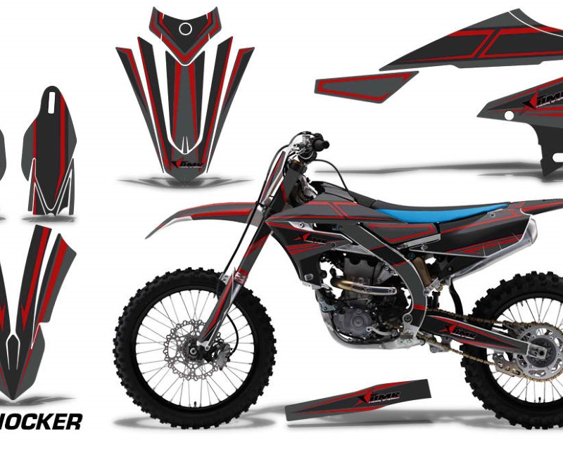 AMR Racing Graphics MX-NP-YAM-YZ450F-2018+-SHOCK R Kit Decal Sticker Wrap + # Plates For Yamaha YZ450F 2018+áSHOCKER RED
