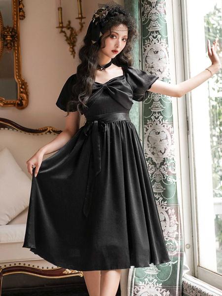 Milanoo Classic Lolita OP Dress Seine Bows Short Sleeve Lolita One Piece Dresses