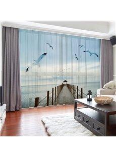 3D Sea gulls Blue Sky Sea Corridor Printed 2 Panels Custom Sheer