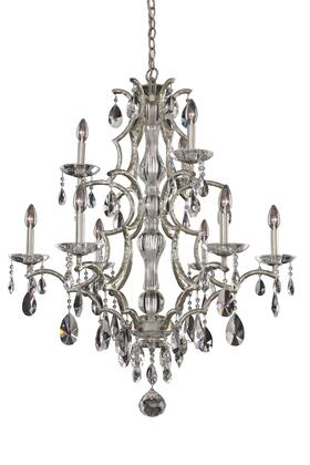 Shorecrest 090074-040-FR001 (6+3)-Light 2 Tier Chandelier in Sliver Dollar Finish with Firenze Clear
