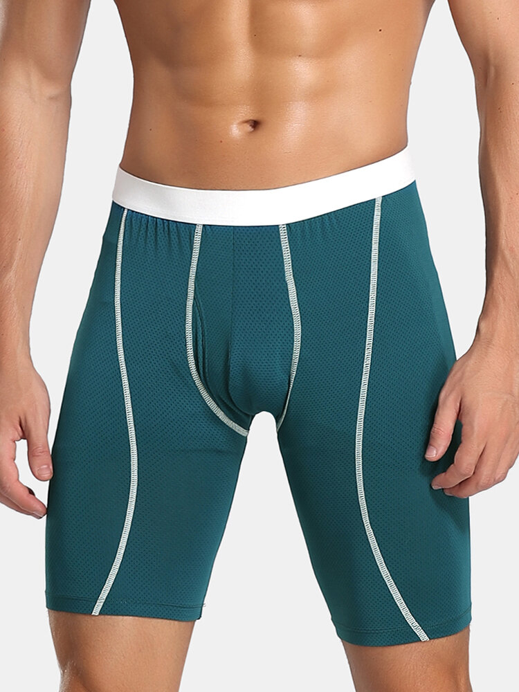 Men Sports Boxer Briefs Moisture Wicking Breathable Side Fly Pouch Long Solid Color Underwear