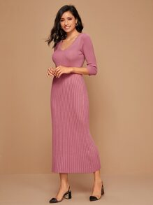 Solid Ribbed Knit Fitted Sweater Dress