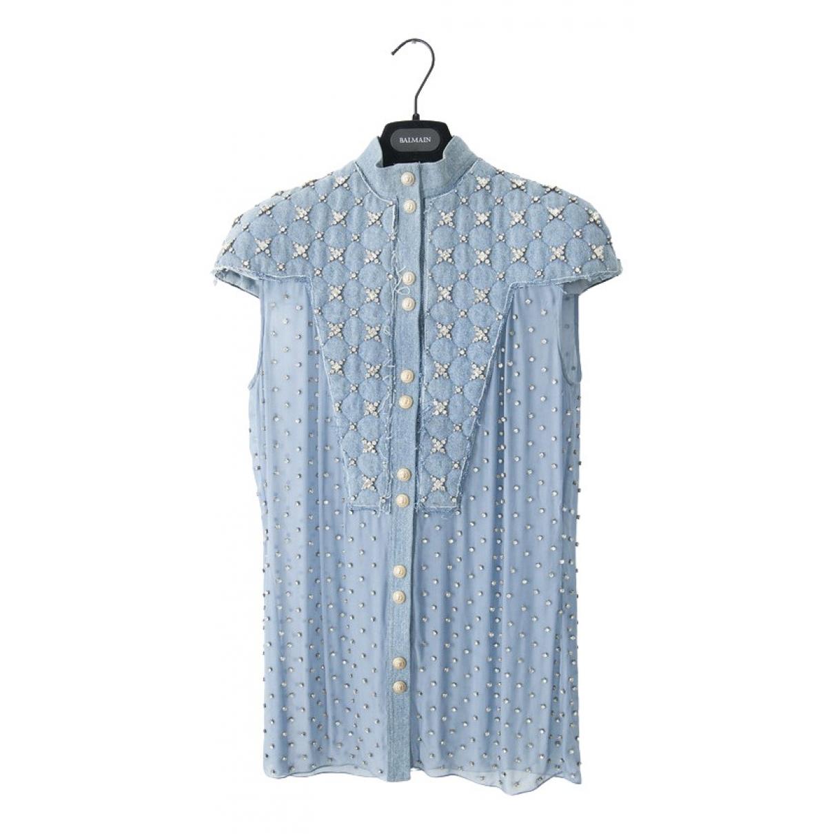 Balmain \N Blue Denim - Jeans  top for Women 36 FR