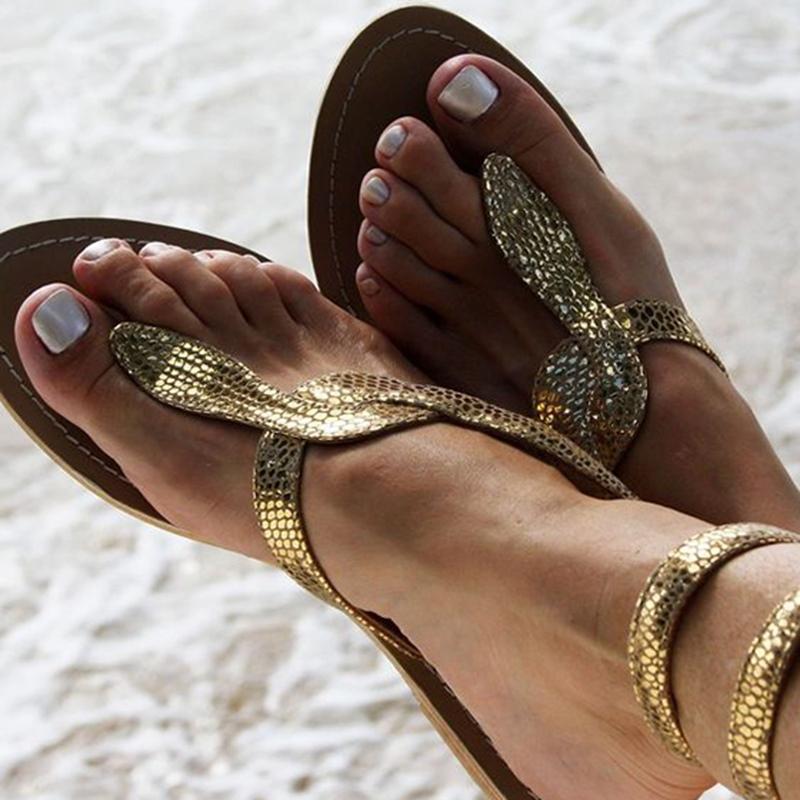 Ericdress Snake Shape Cross Strap Thong Flat Sandals