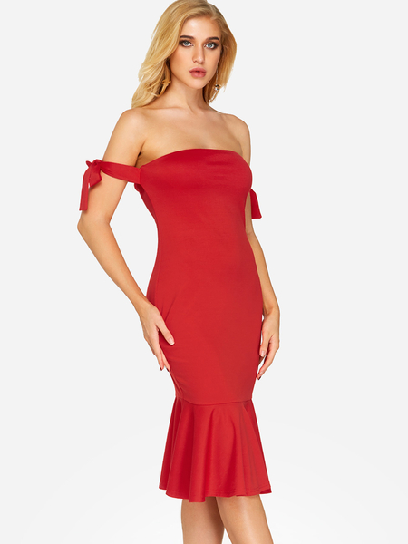 Yoins Red Self-tie Design Off The Shoulder Sleeveless Flounced Hem Dress