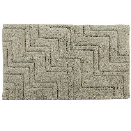 Castle Hill London Zig Zag Bath Rug Collection, One Size , Green