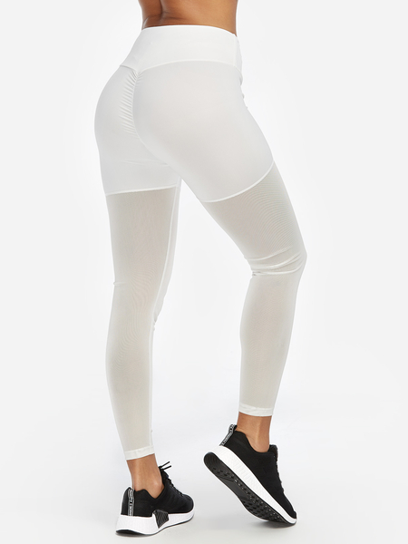 Yoins White See Through Design Plain Pleated Details Active Bottoms