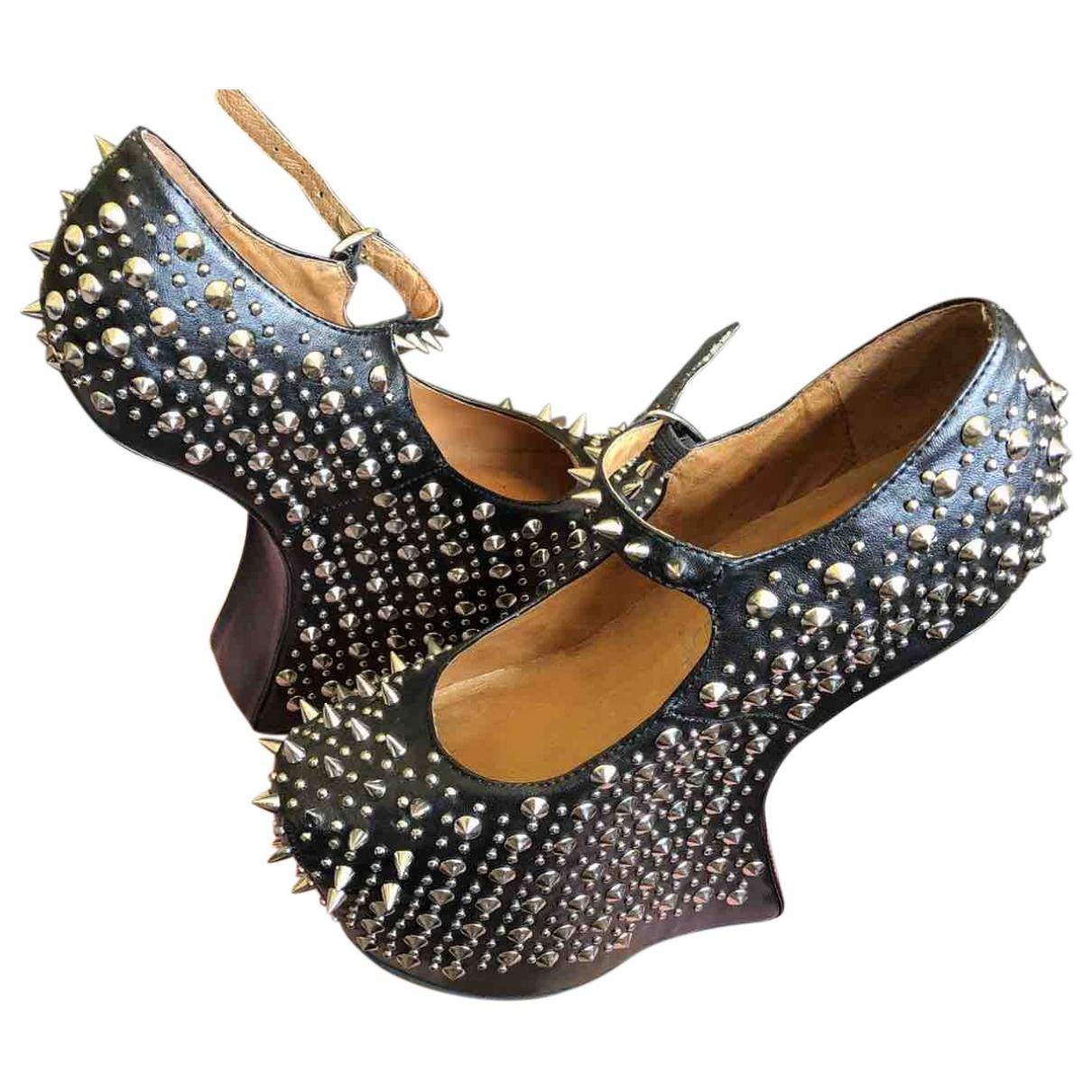 Jeffrey Campbell \N Black Leather Heels for Women 3 UK