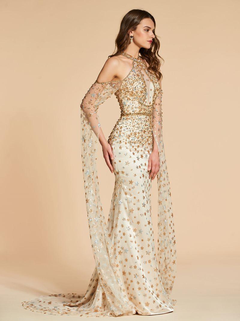 Ericdress Beaded Sequins Cold Shoulder Evening Dress